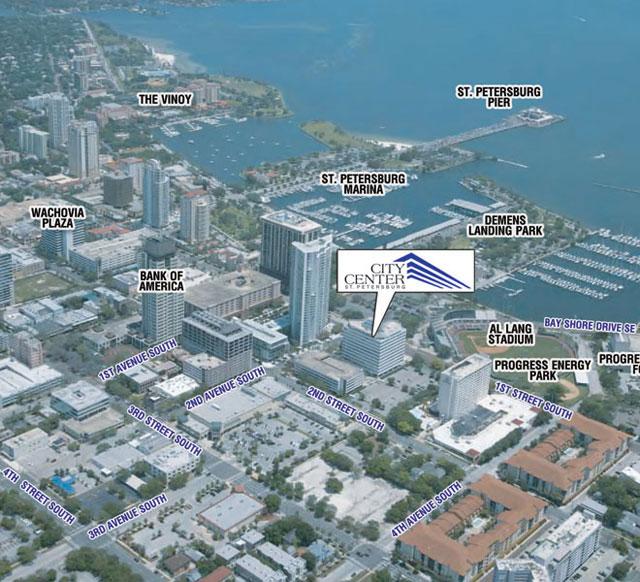 St. petersburg city center aerial map